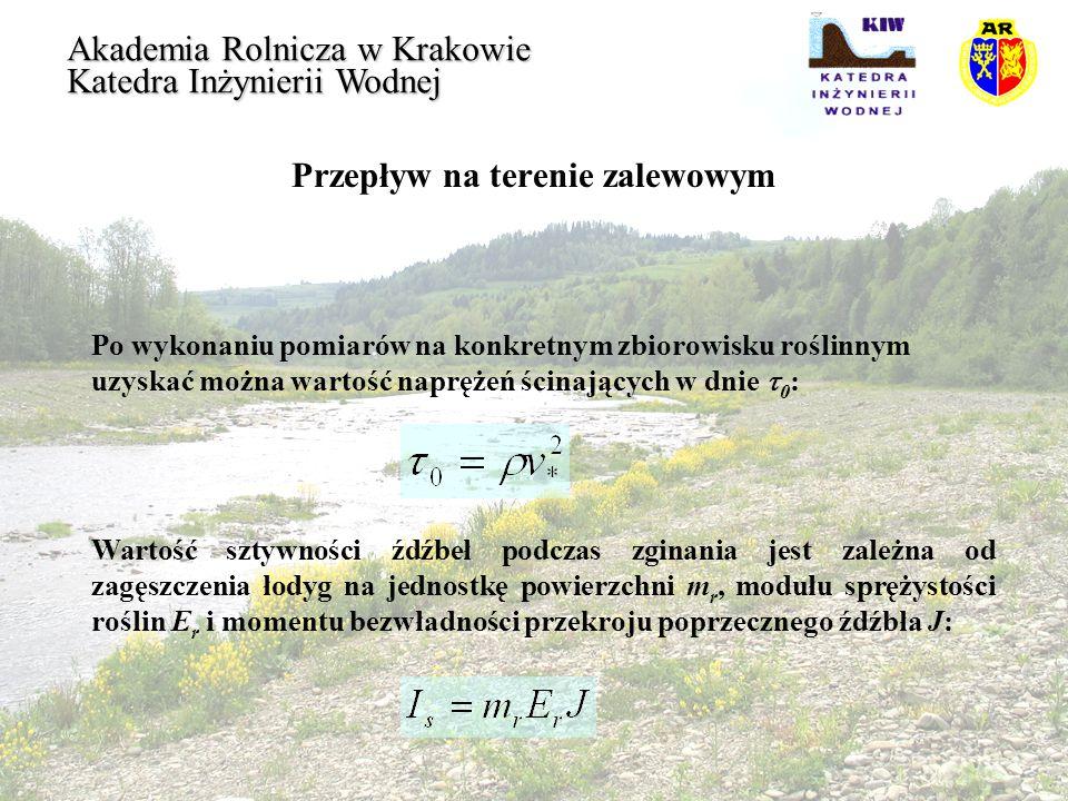 Przepływ na terenie zalewowym Akademia Rolnicza w Krakowie Katedra Inżynierii Wodnej Po wykonaniu pomiarów na konkretnym zbiorowisku roślinnym uzyskać