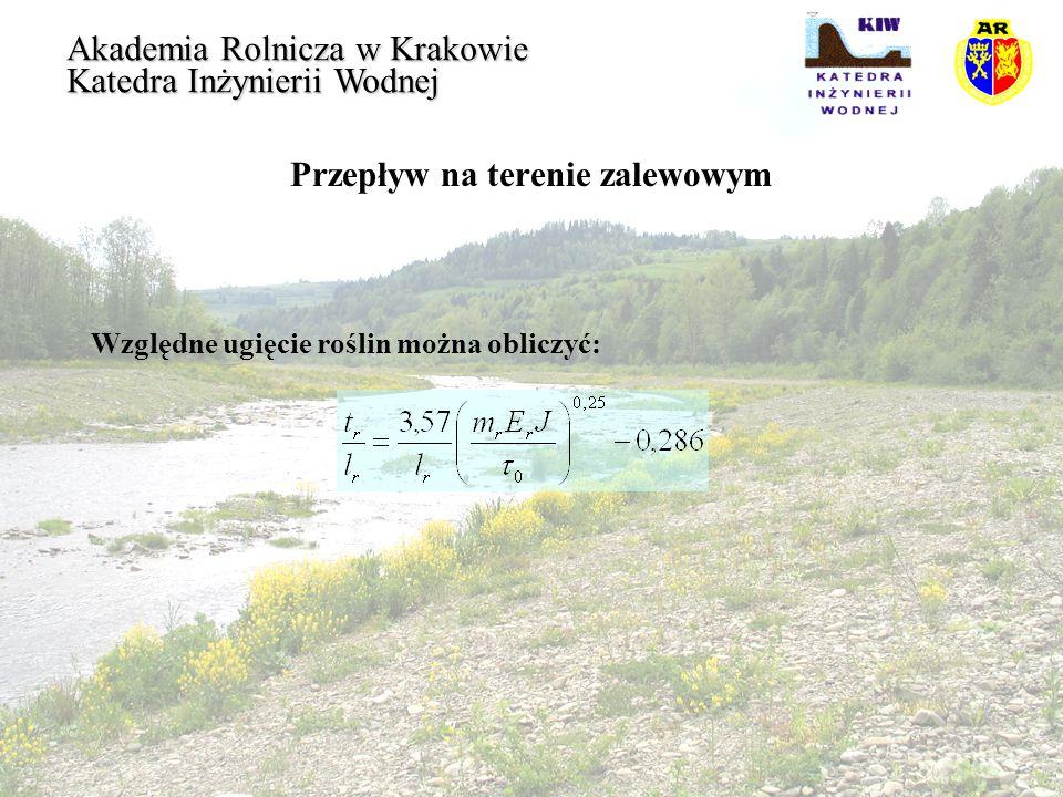 Przepływ na terenie zalewowym Akademia Rolnicza w Krakowie Katedra Inżynierii Wodnej Względne ugięcie roślin można obliczyć: