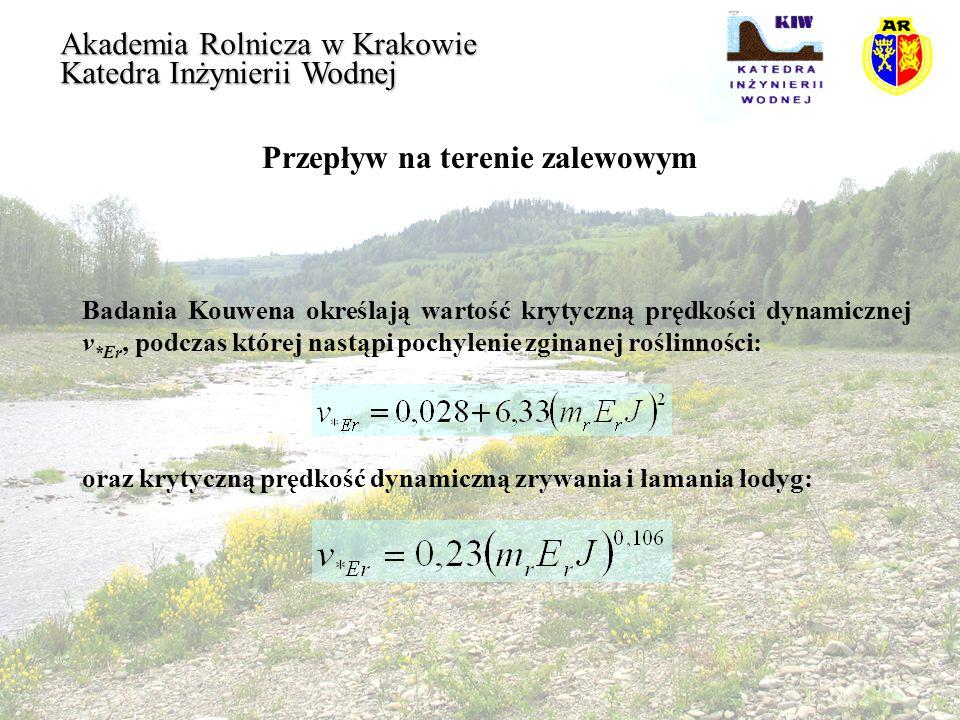 Przepływ na terenie zalewowym Akademia Rolnicza w Krakowie Katedra Inżynierii Wodnej Badania Kouwena określają wartość krytyczną prędkości dynamicznej
