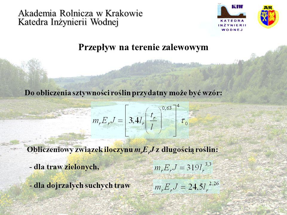 Przepływ na terenie zalewowym Akademia Rolnicza w Krakowie Katedra Inżynierii Wodnej Do obliczenia sztywności roślin przydatny może być wzór: Obliczen
