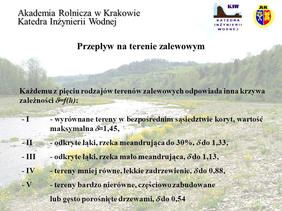 Przepływ na terenie zalewowym Akademia Rolnicza w Krakowie Katedra Inżynierii Wodnej Klassen i Van der Zward przeprowadzili modelowe badania przepływu na terenach zalewowych Mozy i Renu określając wpływ sadów i żywopłotów na warunki przejścia wielkich wód według wzoru: gdzie:A p =pA- rzeczywista powierzchnia przepływu z uwzględnieniem roślinności [m 2 ]
