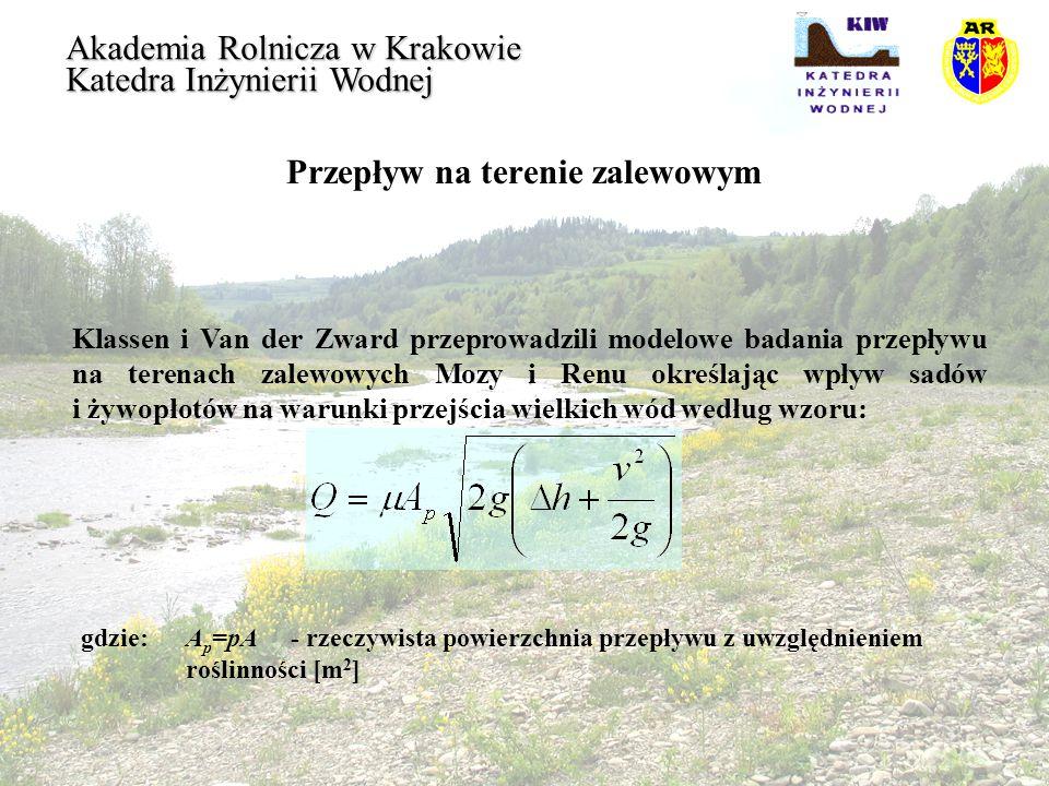 Przepływ na terenie zalewowym Akademia Rolnicza w Krakowie Katedra Inżynierii Wodnej Przy założeniu, że R = h oraz k = t r współczynnik oporów możemy obliczyć wzorem: gdzie:a 2 i b 2 - współczynniki zależne od położenia roślinności, b 2 =1,85- położenie roślin jest proste, b 2 =3,5- roślinność jest pochylona