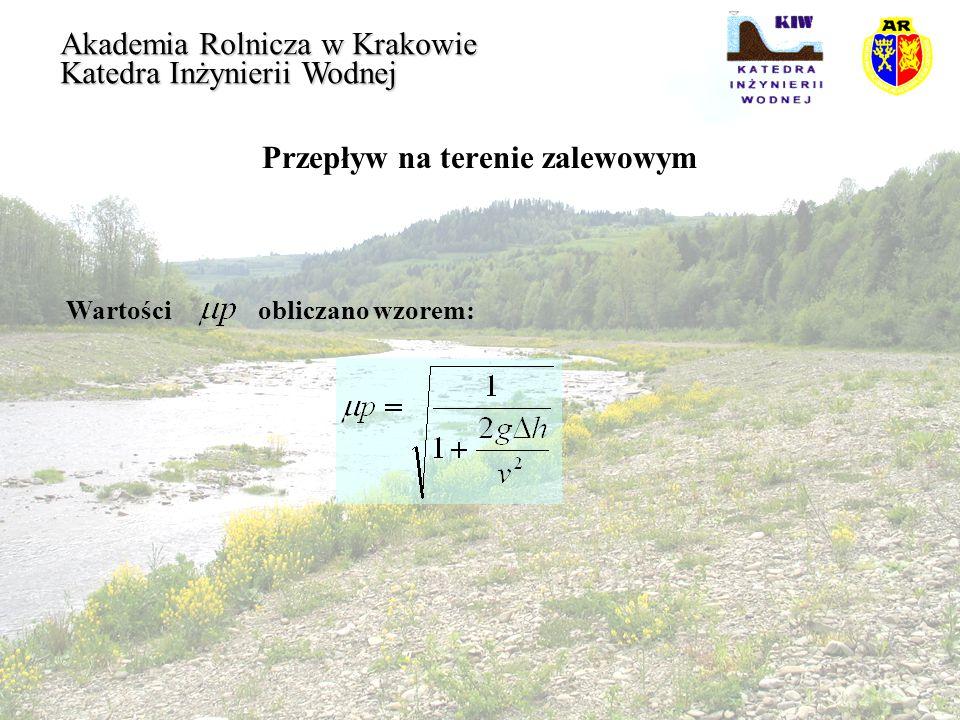 Przepływ na terenie zalewowym Akademia Rolnicza w Krakowie Katedra Inżynierii Wodnej Wartości obliczano wzorem:
