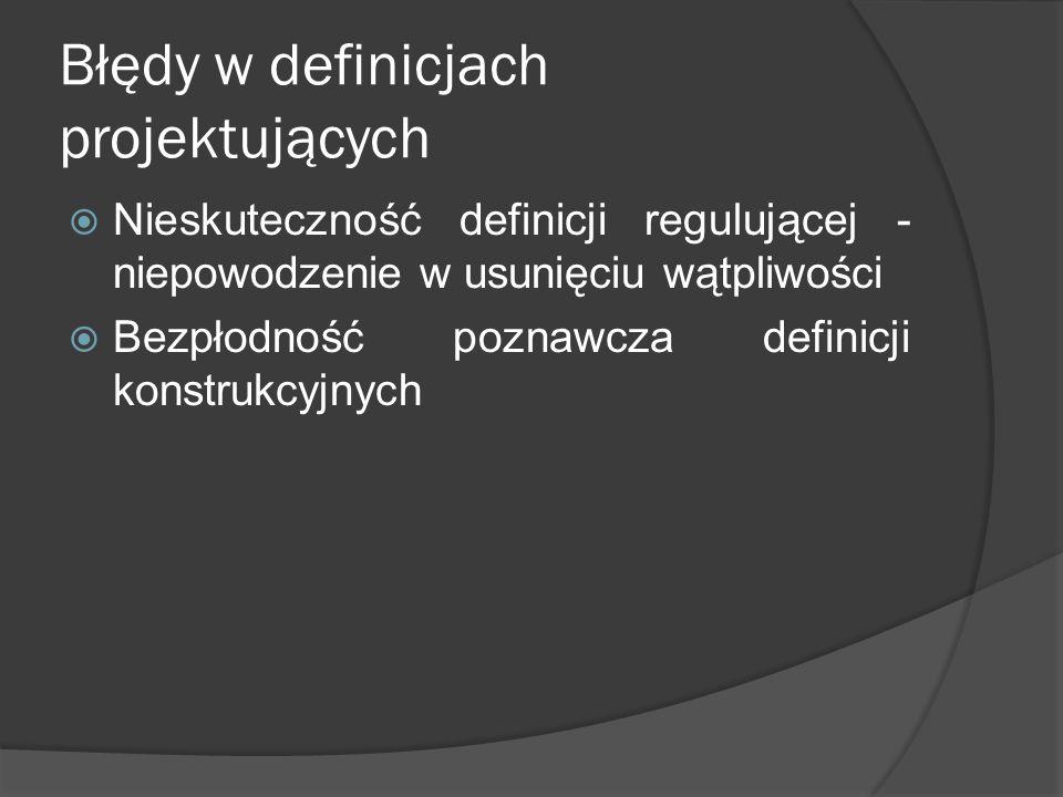Błędy w definicjach projektujących  Nieskuteczność definicji regulującej - niepowodzenie w usunięciu wątpliwości  Bezpłodność poznawcza definicji ko