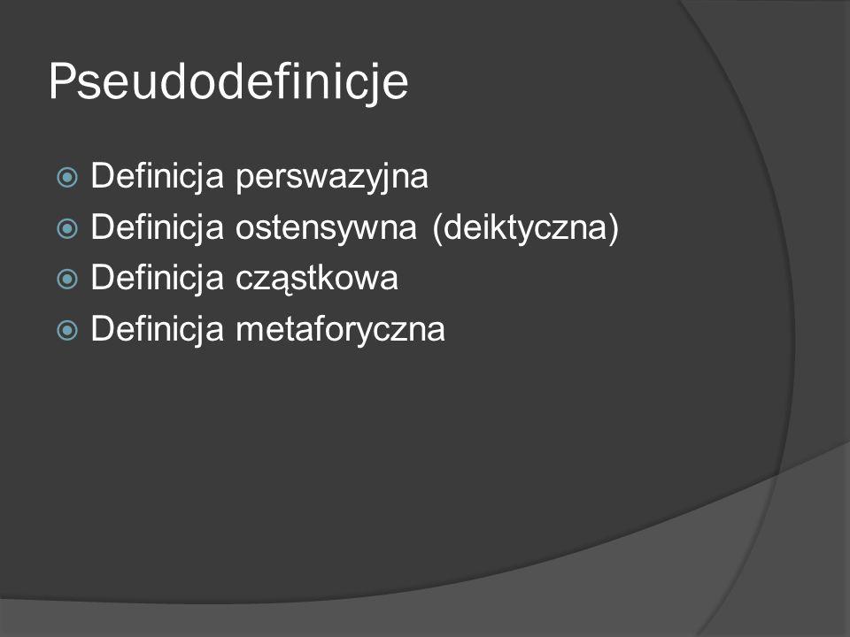 Pseudodefinicje  Definicja perswazyjna  Definicja ostensywna (deiktyczna)  Definicja cząstkowa  Definicja metaforyczna
