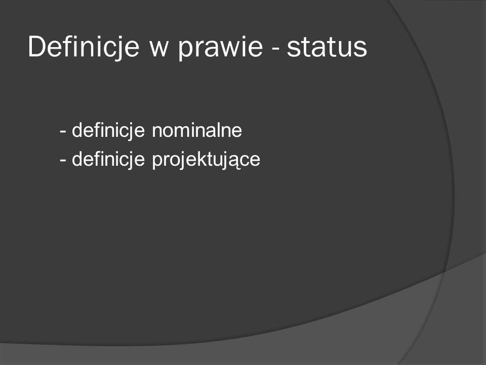 Definicje w prawie - status - definicje nominalne - definicje projektujące