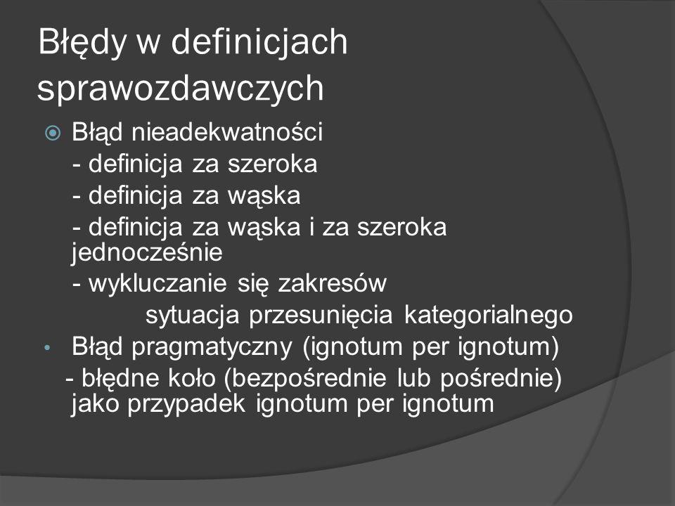 Błędy w definicjach sprawozdawczych - przykłady a) Metaetyka to dział filozofii, który podejmuje problemy metaetyczne b) Czas w filozofii Kanta to pojęcie empirycznie realne, lecz transcendentalnie idealne c) Nazwa ogólna to nazwa, która ma mniej niż 1000 desygnatów d) Kwadrat to figura geometryczna o czterech bokach