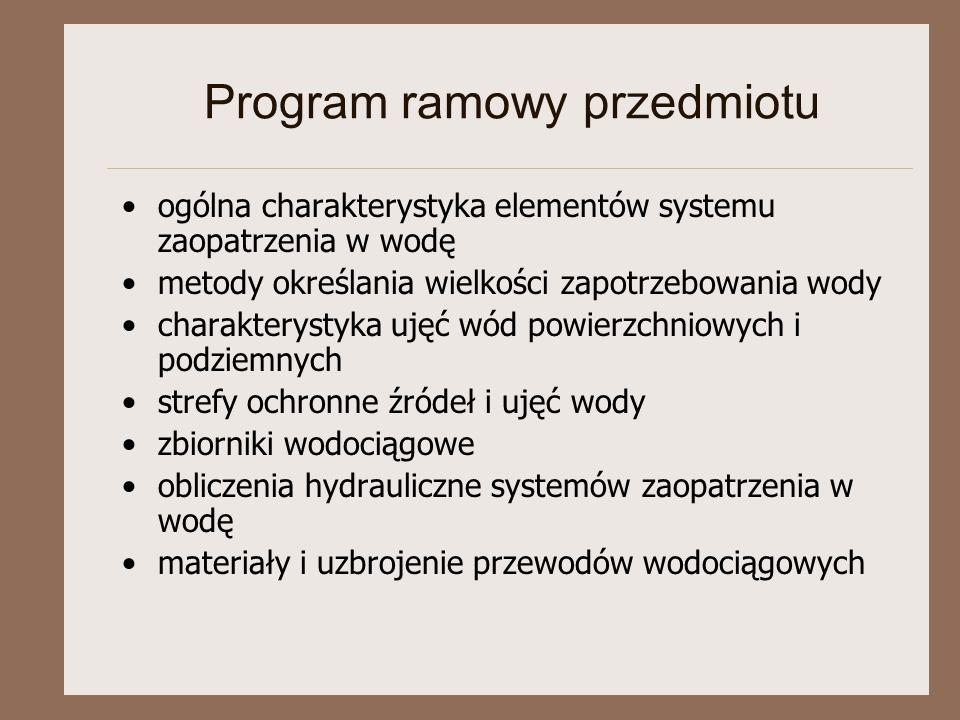 Program ramowy przedmiotu ogólna charakterystyka elementów systemu zaopatrzenia w wodę metody określania wielkości zapotrzebowania wody charakterystyk