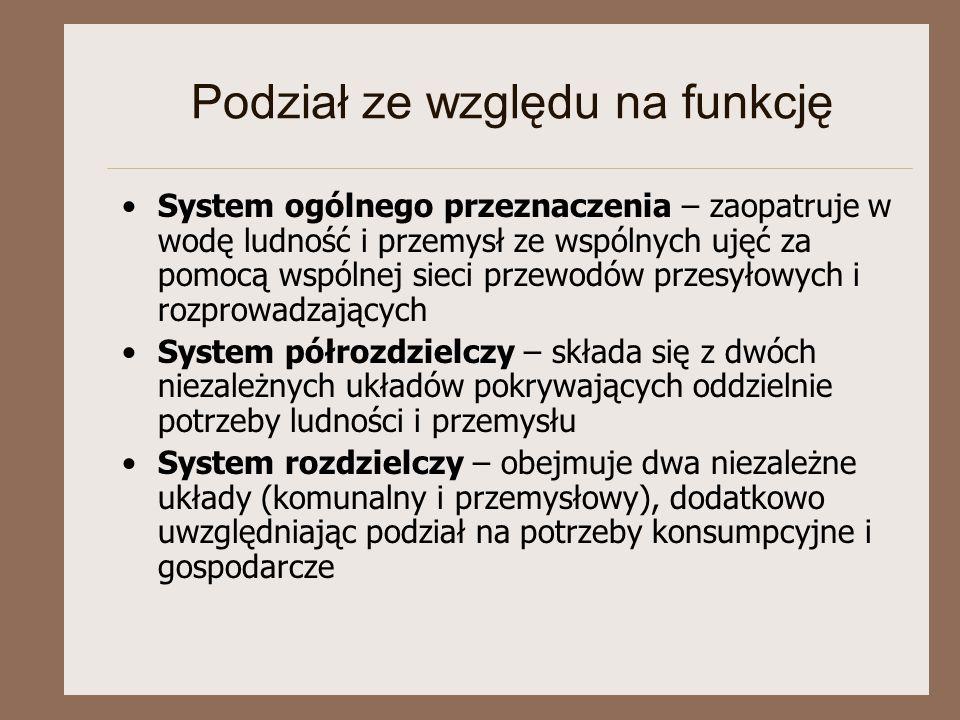 Podział ze względu na funkcję System ogólnego przeznaczenia – zaopatruje w wodę ludność i przemysł ze wspólnych ujęć za pomocą wspólnej sieci przewodó