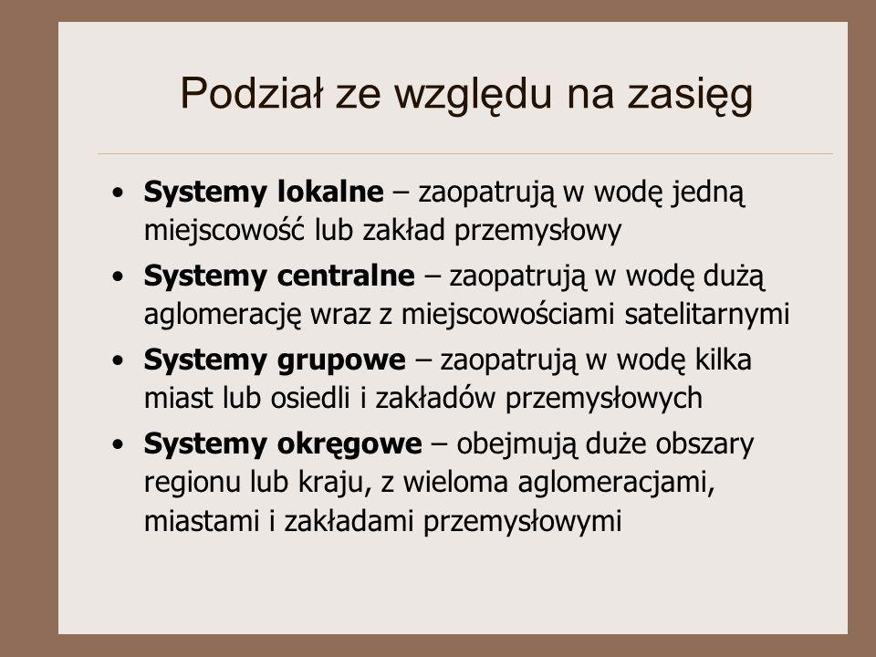 Podział ze względu na zasięg Systemy lokalne – zaopatrują w wodę jedną miejscowość lub zakład przemysłowy Systemy centralne – zaopatrują w wodę dużą a