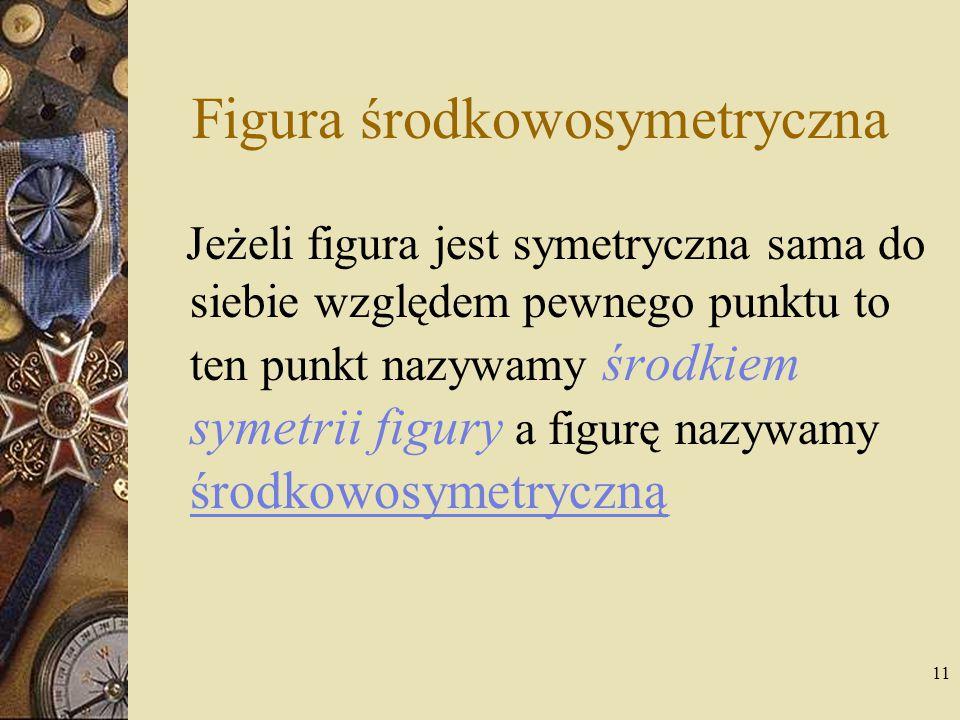 11 Figura środkowosymetryczna Jeżeli figura jest symetryczna sama do siebie względem pewnego punktu to ten punkt nazywamy środkiem symetrii figury a f