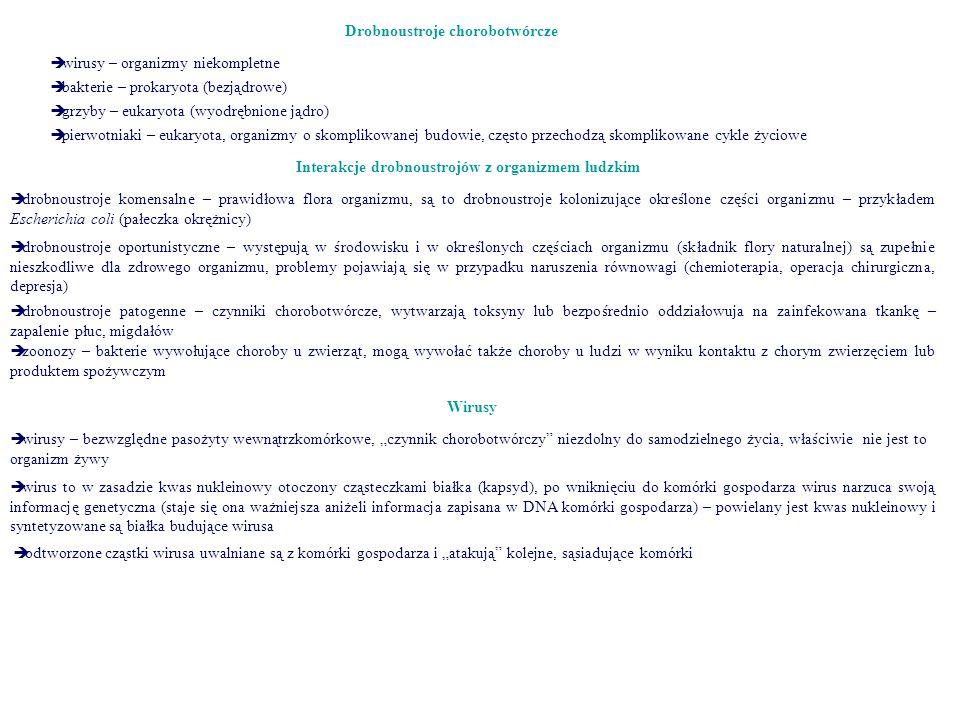 Drobnoustroje chorobotwórcze  wirusy – organizmy niekompletne  bakterie – prokaryota (bezjądrowe)  grzyby – eukaryota (wyodrębnione jądro)  pierwo