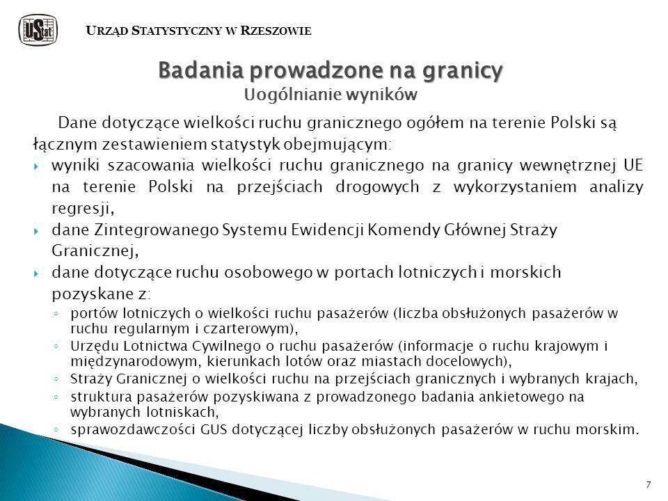 7 Dane dotyczące wielkości ruchu granicznego ogółem na terenie Polski są łącznym zestawieniem statystyk obejmującym:  wyniki szacowania wielkości ruchu granicznego na granicy wewnętrznej UE na terenie Polski na przejściach drogowych z wykorzystaniem analizy regresji,  dane Zintegrowanego Systemu Ewidencji Komendy Głównej Straży Granicznej,  dane dotyczące ruchu osobowego w portach lotniczych i morskich pozyskane z: ◦ portów lotniczych o wielkości ruchu pasażerów (liczba obsłużonych pasażerów w ruchu regularnym i czarterowym), ◦ Urzędu Lotnictwa Cywilnego o ruchu pasażerów (informacje o ruchu krajowym i międzynarodowym, kierunkach lotów oraz miastach docelowych), ◦ Straży Granicznej o wielkości ruchu na przejściach granicznych i wybranych krajach, ◦ struktura pasażerów pozyskiwana z prowadzonego badania ankietowego na wybranych lotniskach, ◦ sprawozdawczości GUS dotyczącej liczby obsłużonych pasażerów w ruchu morskim.