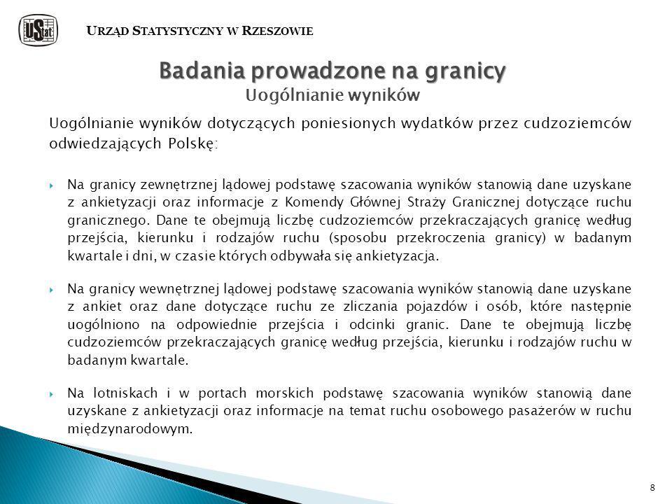 8 Uogólnianie wyników dotyczących poniesionych wydatków przez cudzoziemców odwiedzających Polskę:  Na granicy zewnętrznej lądowej podstawę szacowania wyników stanowią dane uzyskane z ankietyzacji oraz informacje z Komendy Głównej Straży Granicznej dotyczące ruchu granicznego.