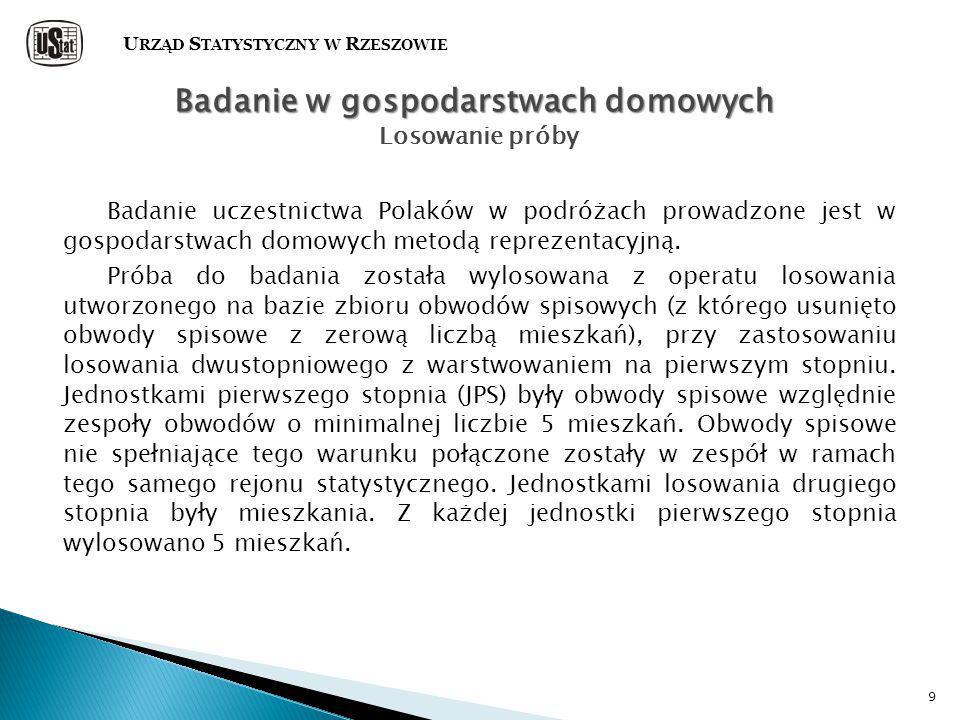 9 Badanie uczestnictwa Polaków w podróżach prowadzone jest w gospodarstwach domowych metodą reprezentacyjną.