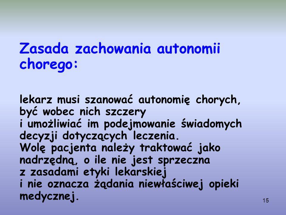 15 Zasada zachowania autonomii chorego: lekarz musi szanować autonomię chorych, być wobec nich szczery i umożliwiać im podejmowanie świadomych decyzji