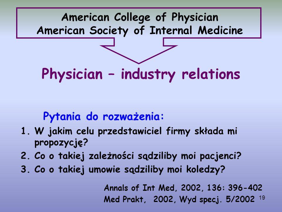 19 American College of Physician American Society of Internal Medicine Pytania do rozważenia: 1.W jakim celu przedstawiciel firmy składa mi propozycję