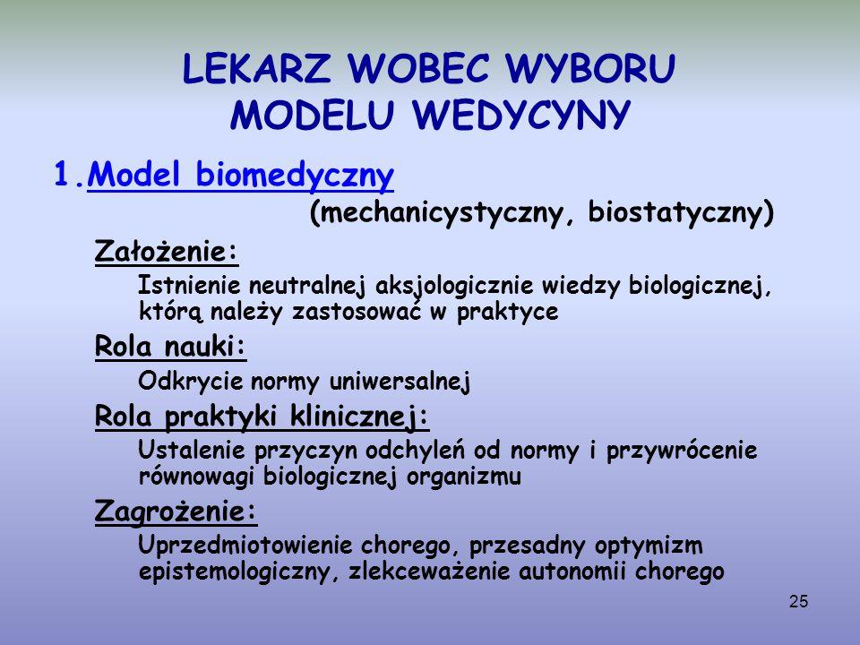 25 LEKARZ WOBEC WYBORU MODELU WEDYCYNY 1.Model biomedyczny (mechanicystyczny, biostatyczny) Założenie: Istnienie neutralnej aksjologicznie wiedzy biol