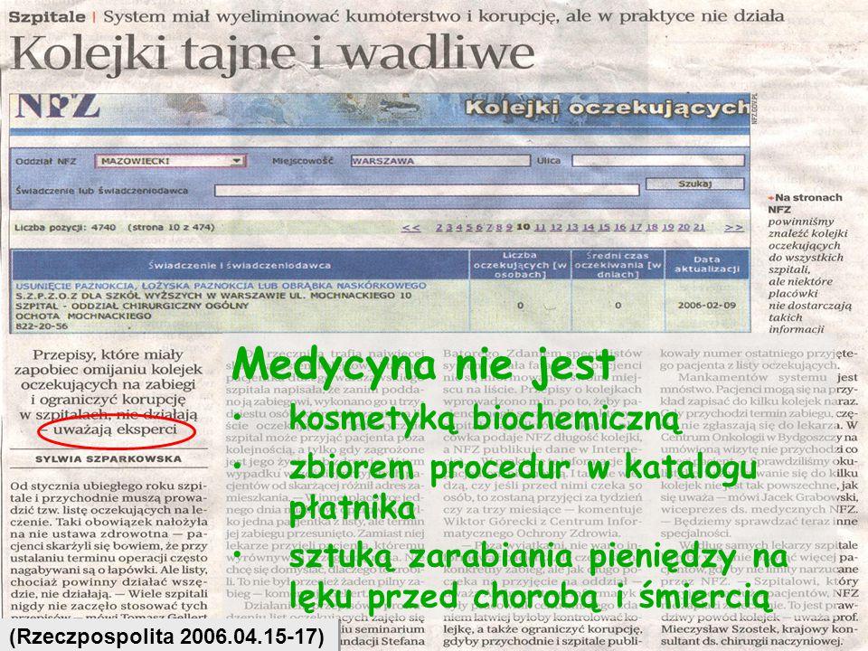 29 Medycyna nie jest kosmetyką biochemiczną zbiorem procedur w katalogu płatnika sztuką zarabiania pieniędzy na lęku przed chorobą i śmiercią (Rzeczpo