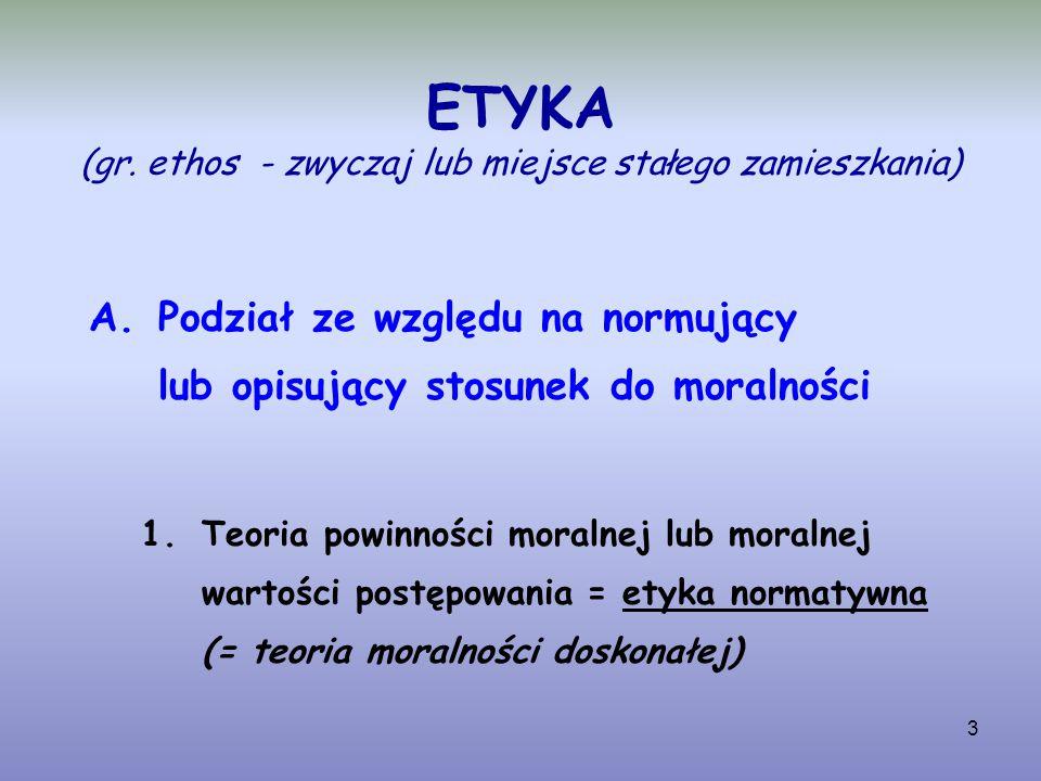 3 ETYKA (gr. ethos - zwyczaj lub miejsce stałego zamieszkania) A.Podział ze względu na normujący lub opisujący stosunek do moralności 1.Teoria powinno