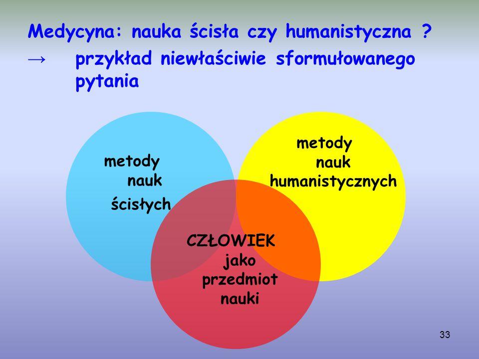 33 Medycyna: nauka ścisła czy humanistyczna ? → przykład niewłaściwie sformułowanego pytania metody nauk ścisłych metody nauk humanistycznych CZŁOWIEK
