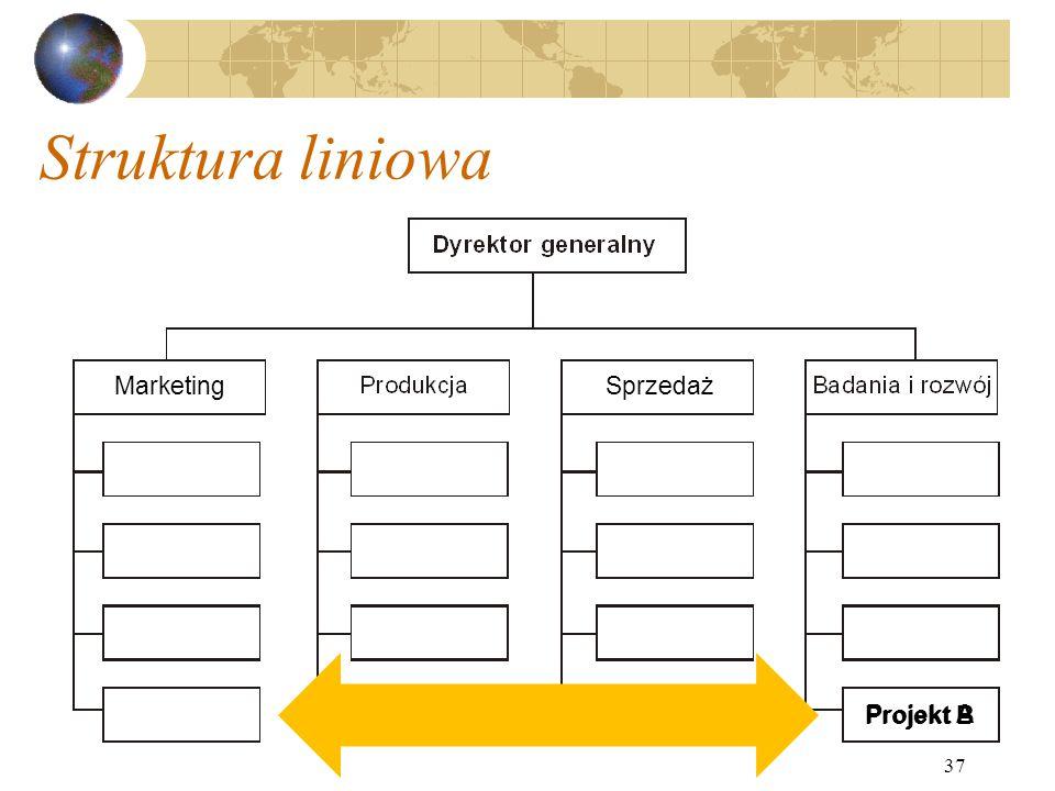 37 Struktura liniowa Projekt A Projekt B MarketingSprzedaż