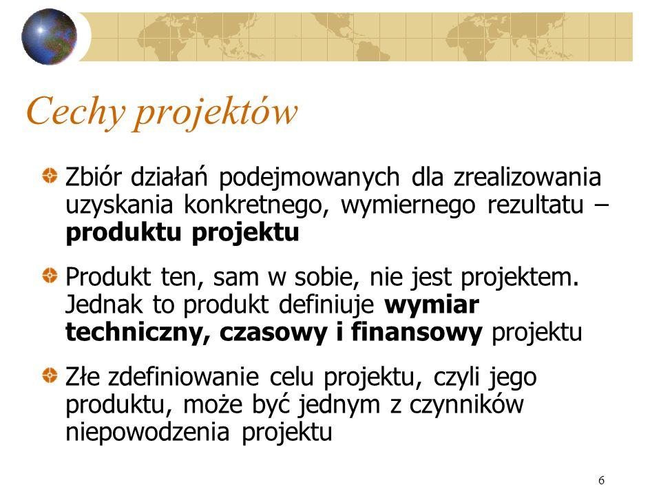 6 Cechy projektów Zbiór działań podejmowanych dla zrealizowania uzyskania konkretnego, wymiernego rezultatu – produktu projektu Produkt ten, sam w sob