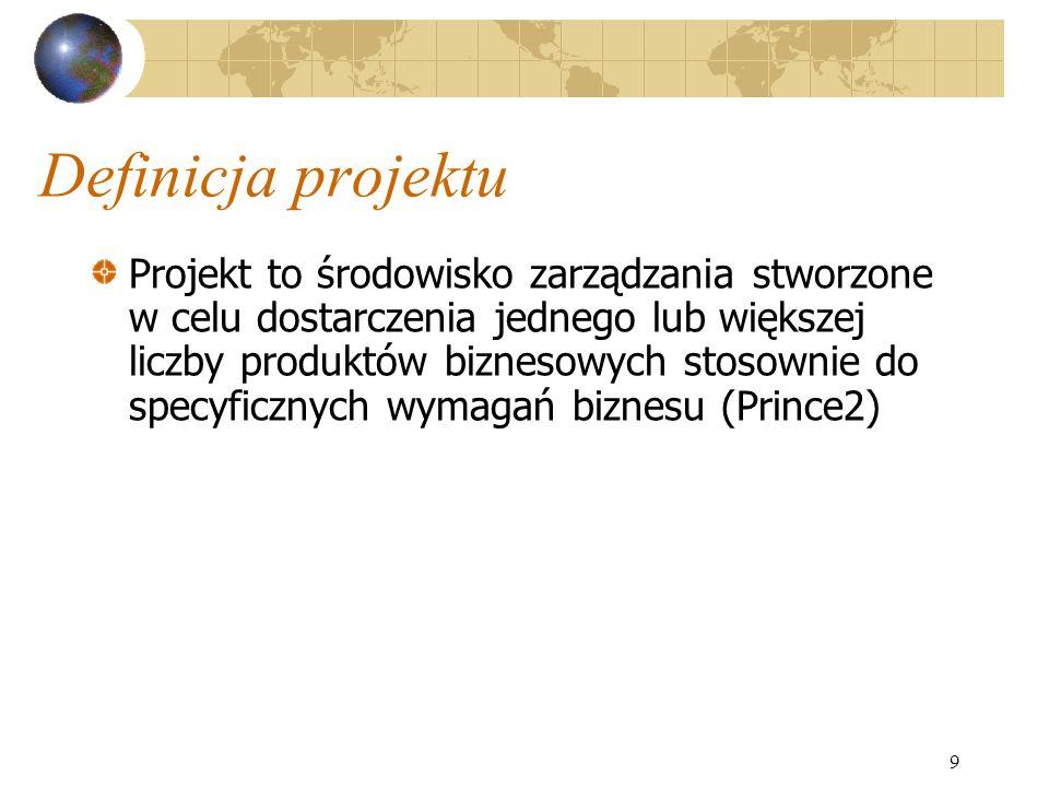 9 Definicja projektu Projekt to środowisko zarządzania stworzone w celu dostarczenia jednego lub większej liczby produktów biznesowych stosownie do sp