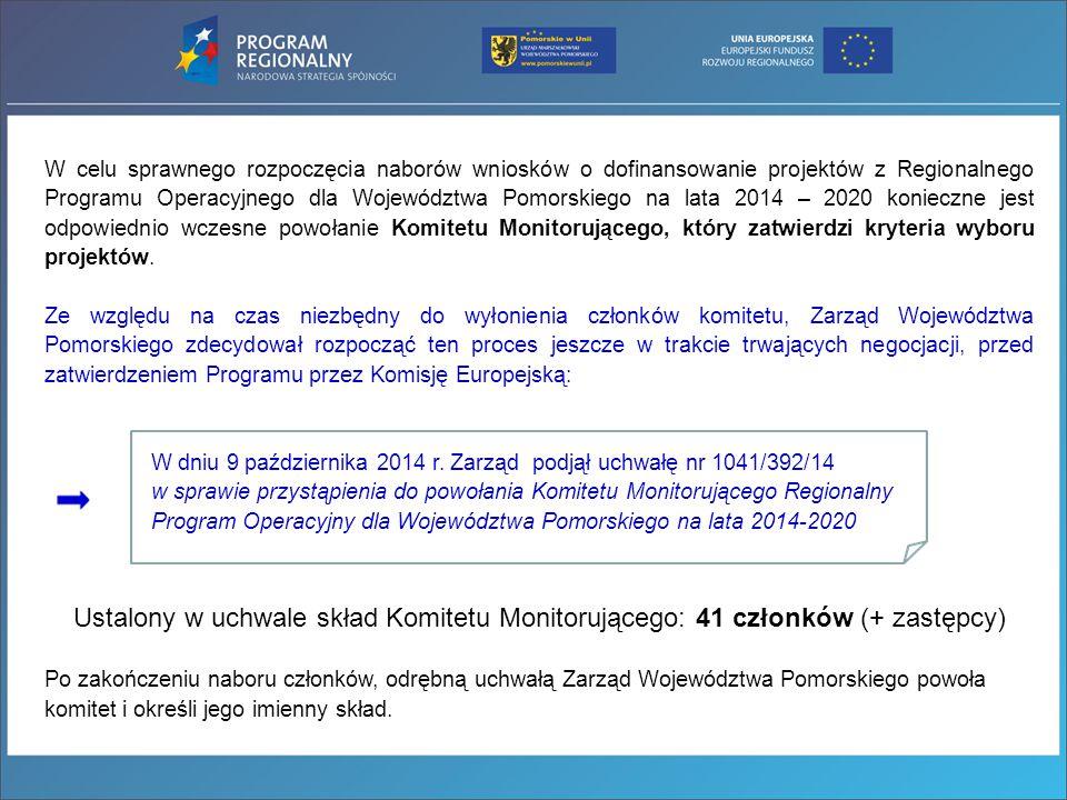 W celu sprawnego rozpoczęcia naborów wniosków o dofinansowanie projektów z Regionalnego Programu Operacyjnego dla Województwa Pomorskiego na lata 2014