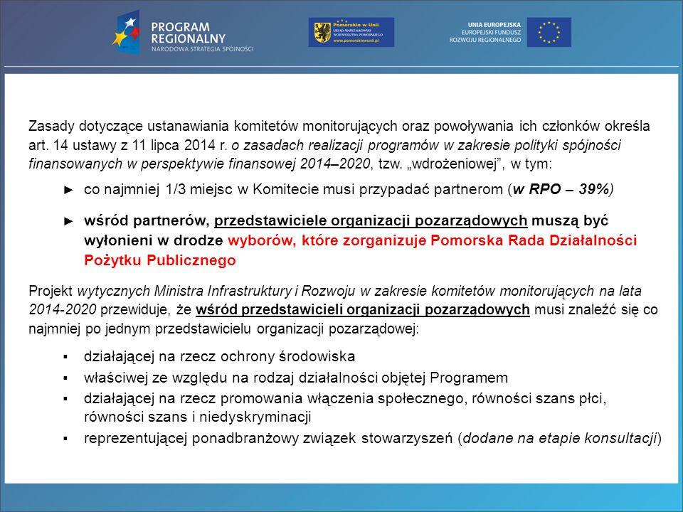 Zasady dotyczące ustanawiania komitetów monitorujących oraz powoływania ich członków określa art. 14 ustawy z 11 lipca 2014 r. o zasadach realizacji p