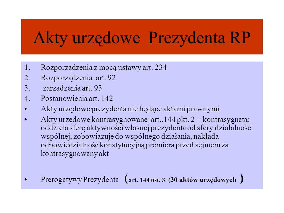 Akty urzędowe Prezydenta RP 1.Rozporządzenia z mocą ustawy art. 234 2.Rozporządzenia art. 92 3. zarządzenia art. 93 4.Postanowienia art. 142 Akty urzę