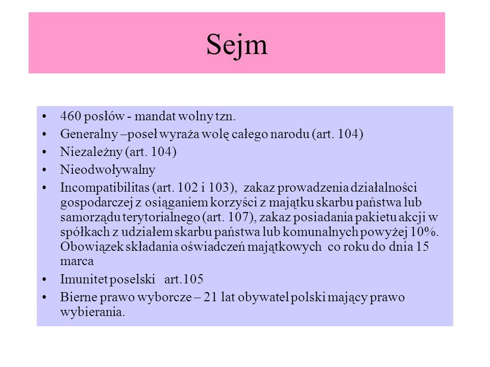 Sejm 460 posłów - mandat wolny tzn. Generalny –poseł wyraża wolę całego narodu (art. 104) Niezależny (art. 104) Nieodwoływalny Incompatibilitas (art.