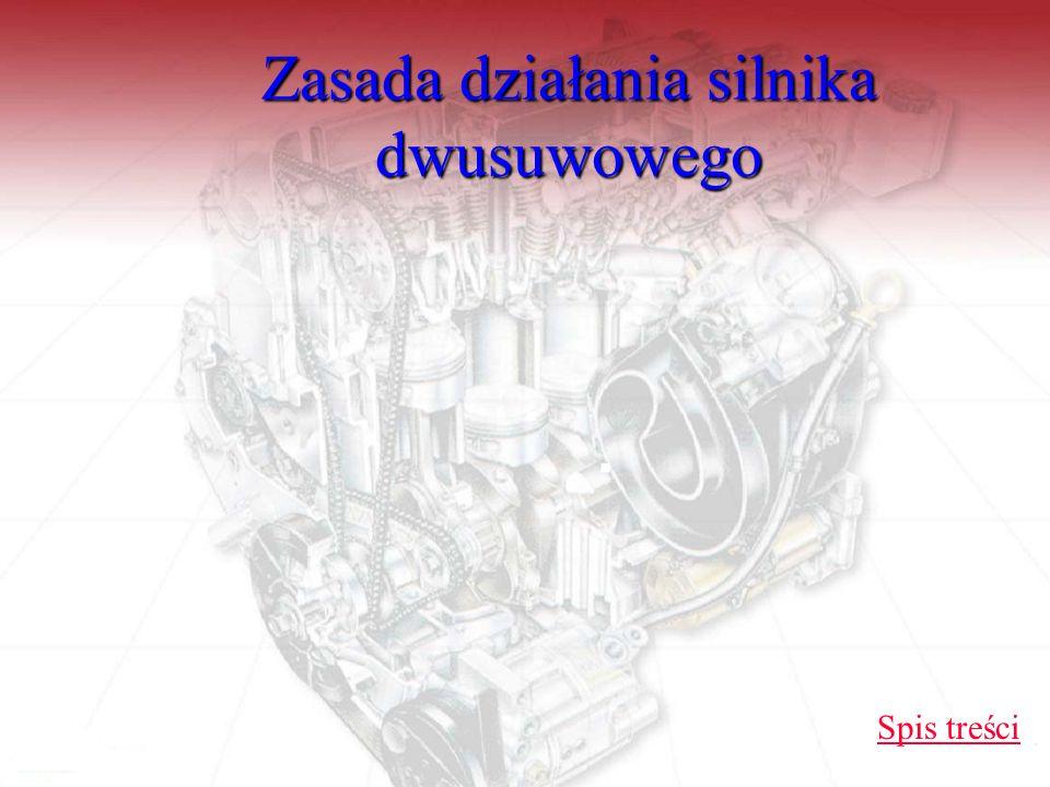 Podsumowanie Dwusuwowy silnik spalinowy w porównaniu z 4suwowym: prostota konstrukcji; większa równomierność pracy przy małej liczbie cylindrów; lepsze smarowanie silnika, gorsze oczyszczanie cylindra ze spalin, mniej ekonomiczny (niższa sprawność).