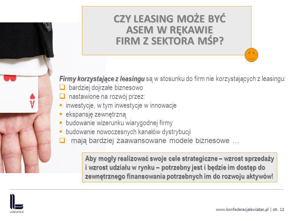 www. konfederacja lewiatan.pl | str. 12 CZY LEASING MOŻE BYĆ ASEM W RĘKAWIE FIRM Z SEKTORA MŚP? Firmy korzystające z leasingu Firmy korzystające z lea