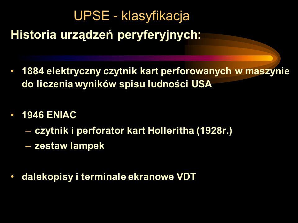 UPSE - klasyfikacja Historia urządzeń peryferyjnych: maszyny do liczenia Pascala i Leibniza XVIIw. –zespoły kół poruszane drewnianymi kołkami, –cyfry