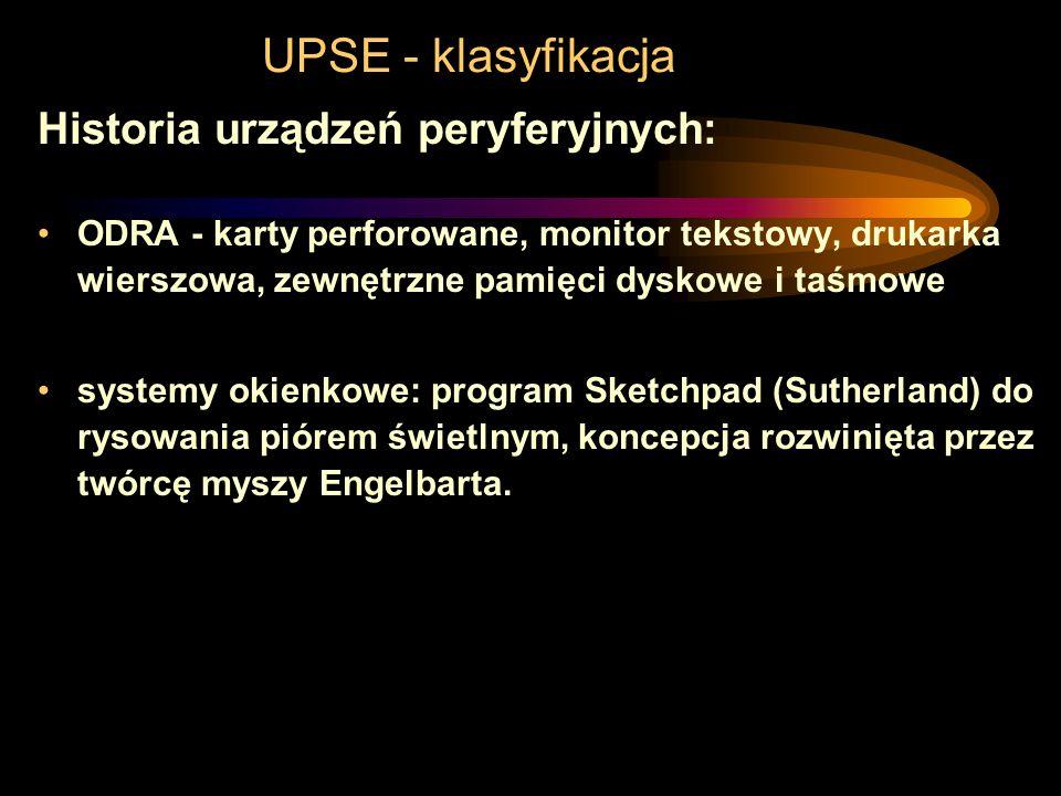 UPSE - klasyfikacja Historia urządzeń peryferyjnych: 1884 elektryczny czytnik kart perforowanych w maszynie do liczenia wyników spisu ludności USA 194