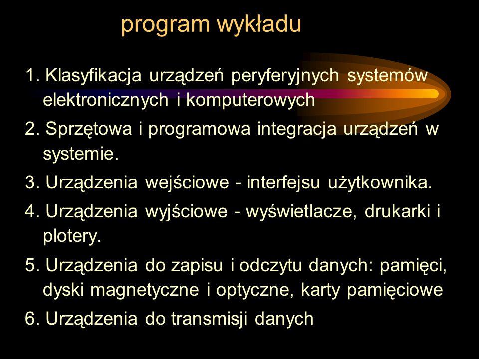 program wykładu 1.Klasyfikacja urządzeń peryferyjnych systemów elektronicznych i komputerowych 2.