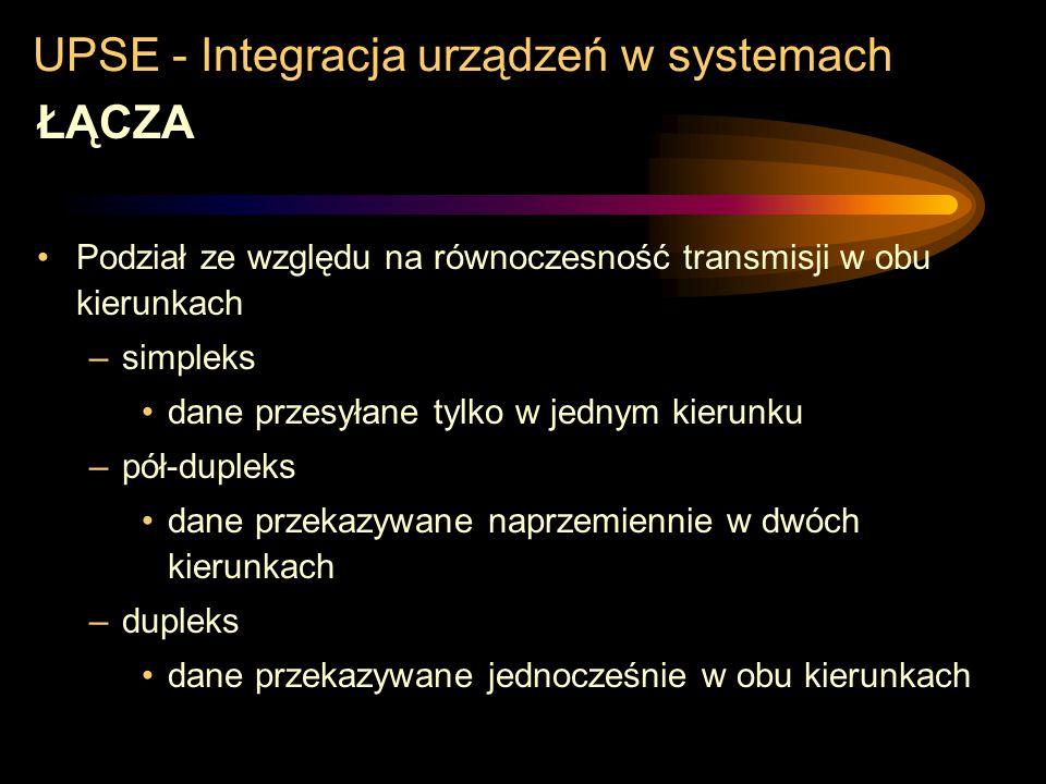 UPSE - Integracja urządzeń w systemach ŁĄCZA Podział ze względu na ilość linii i sposób transmitowania informacji –szeregowe lokalne RS232C, USB, IEEE