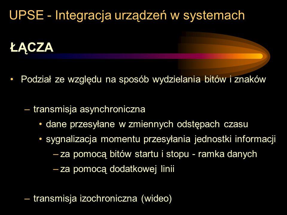 UPSE - Integracja urządzeń w systemach ŁĄCZA Podział ze względu na sposób wydzielania bitów i znaków –transmisja synchroniczna charakterystyczne punkt