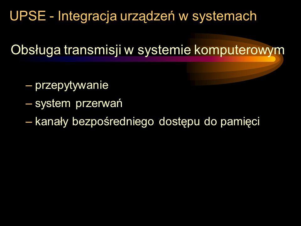 UPSE - Integracja urządzeń w systemach ŁĄCZA Podział ze względu na sposób wydzielania bitów i znaków –transmisja asynchroniczna dane przesyłane w zmie