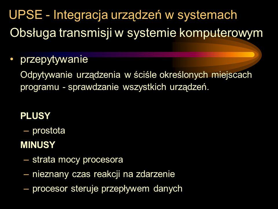 UPSE - Integracja urządzeń w systemach Obsługa transmisji w systemie komputerowym –przepytywanie –system przerwań –kanały bezpośredniego dostępu do pa