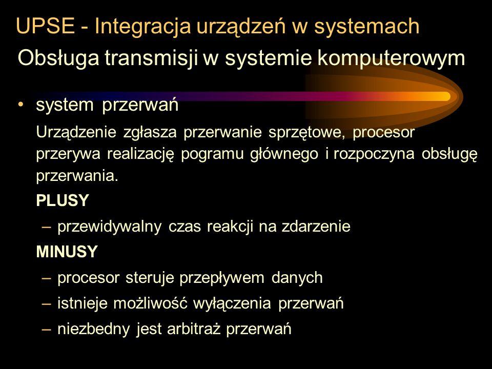 UPSE - Integracja urządzeń w systemach Obsługa transmisji w systemie komputerowym przepytywanie Odpytywanie urządzenia w ściśle określonych miejscach