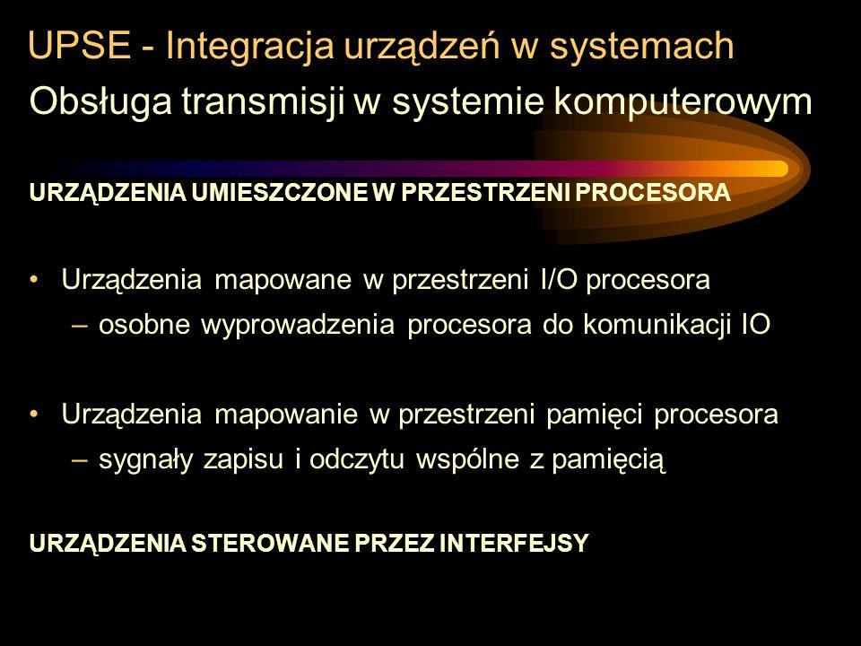 UPSE - Integracja urządzeń w systemach Obsługa transmisji w systemie komputerowym kanały bezpośredniego dostępu do pamięci Procesor ustawia parametry