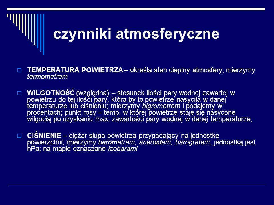 czynniki atmosferyczne  TEMPERATURA POWIETRZA – określa stan cieplny atmosfery, mierzymy termometrem  WILGOTNOŚĆ (względna) – stosunek ilości pary w