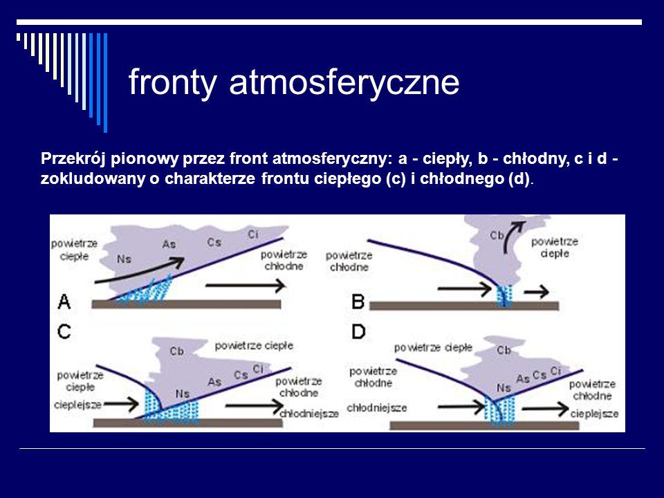 fronty atmosferyczne Przekrój pionowy przez front atmosferyczny: a - ciepły, b - chłodny, c i d - zokludowany o charakterze frontu ciepłego (c) i chło