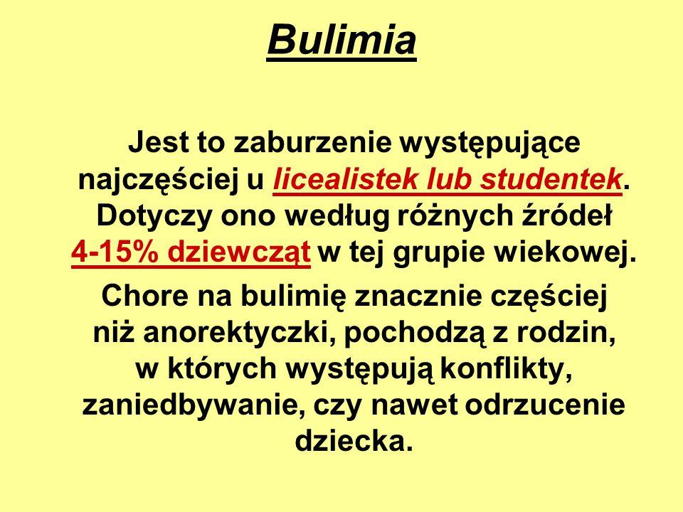 Bulimia Jest to zaburzenie występujące najczęściej u licealistek lub studentek. Dotyczy ono według różnych źródeł 4-15% dziewcząt w tej grupie wiekowe