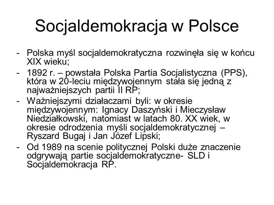 Socjaldemokracja w Polsce -Polska myśl socjaldemokratyczna rozwinęła się w końcu XIX wieku; -1892 r. – powstała Polska Partia Socjalistyczna (PPS), kt
