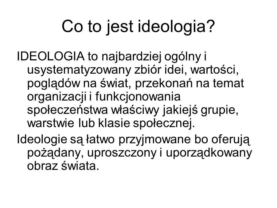 Co to jest ideologia? IDEOLOGIA to najbardziej ogólny i usystematyzowany zbiór idei, wartości, poglądów na świat, przekonań na temat organizacji i fun