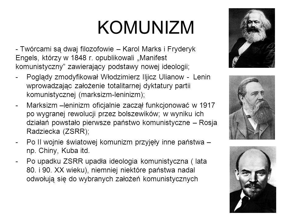 """KOMUNIZM - Twórcami są dwaj filozofowie – Karol Marks i Fryderyk Engels, którzy w 1848 r. opublikowali """"Manifest komunistyczny"""" zawierający podstawy n"""