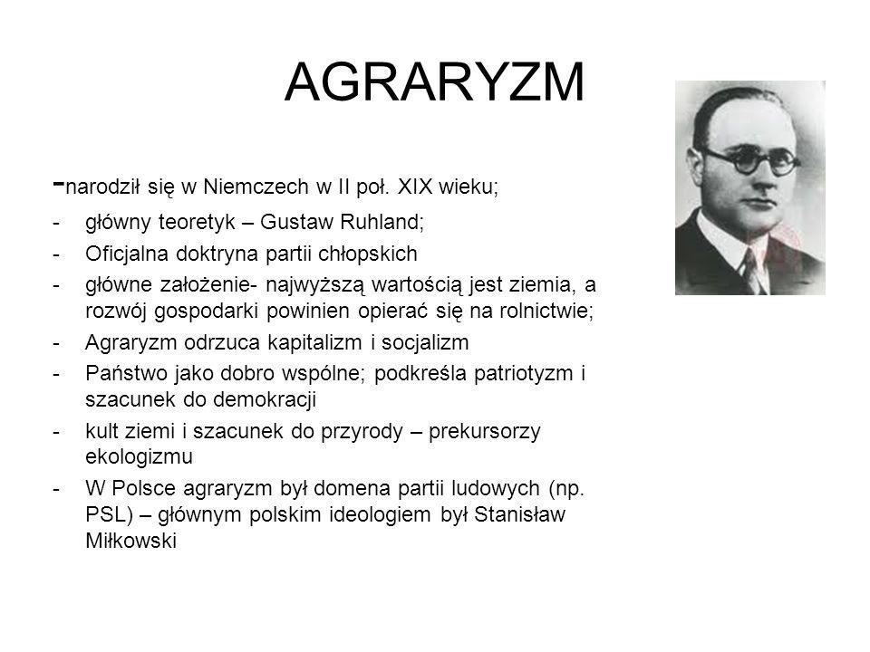 AGRARYZM - narodził się w Niemczech w II poł. XIX wieku; -główny teoretyk – Gustaw Ruhland; -Oficjalna doktryna partii chłopskich -główne założenie- n